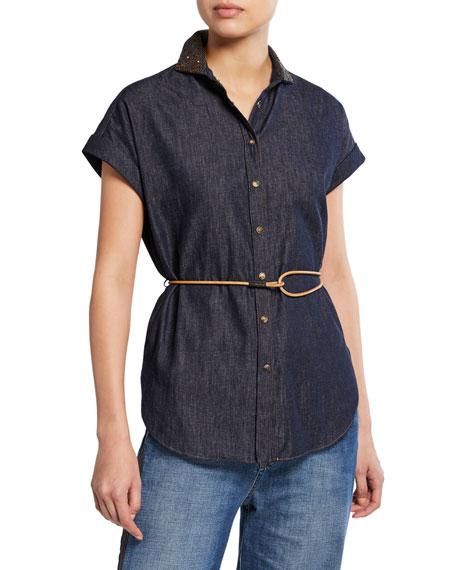 Brunello Cucinelli Cap-Sleeve Embroidered-Collar Denim Shirt