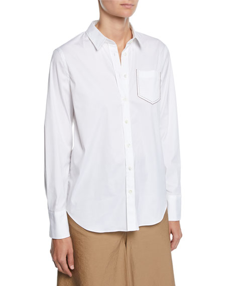 Brunello Cucinelli Long-Sleeve Button-Front Cotton Poplin Shirt w/ Monili Pocket