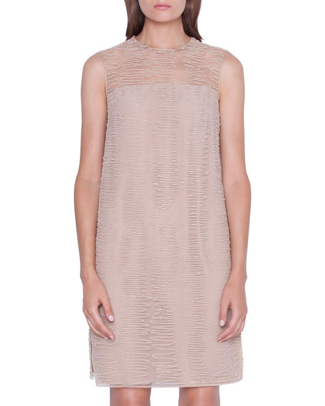 Image 3 of 3: Akris Sleeveless Scribble-Embroidered Tunic Dress