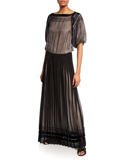 Pleated Mock-Neck Sleeveless Chiffon Gown