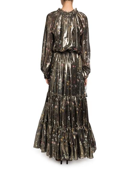 Altuzarra Shimmer Long-Sleeve V-Neck Dress