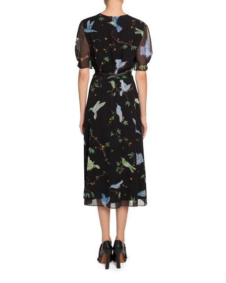 Altuzarra Gorman Bird Print Chiffon Dress