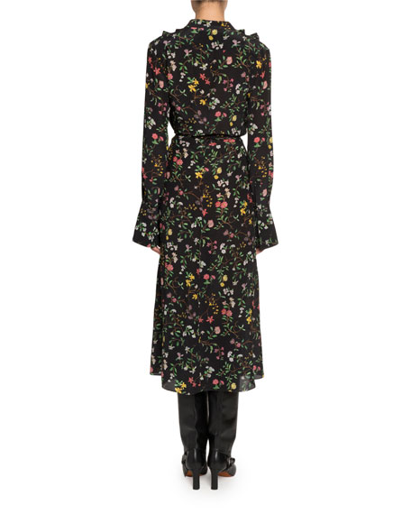 Altuzarra Floral Print Long-Sleeve Twisted Collar Dress