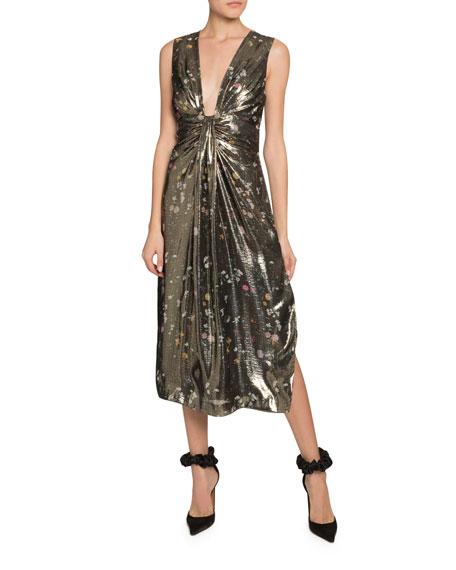Altuzarra Falco Sleeveless Metallic Floral Dress