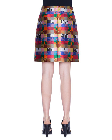 Akris punto Floral Square Jacquard A-Line Skirt
