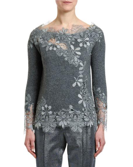 Ermanno Scervino Cashmere Glitter-Lace Sweater