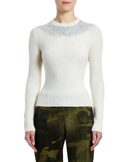 Ermanno Scervino Crystal-Embellished Ribbed Sweater