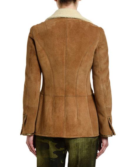 Ermanno Scervino Goat-Suede Faux-Shearling Collar Coat
