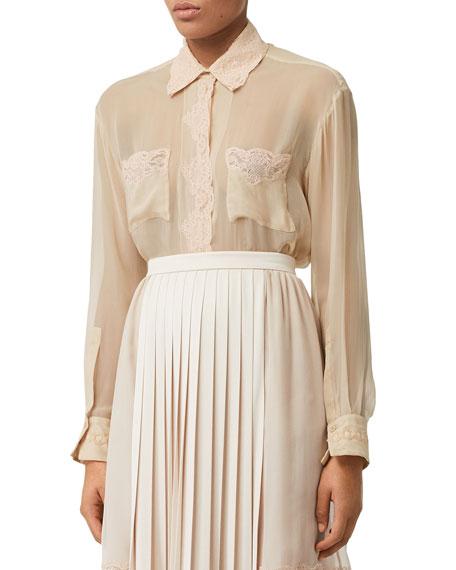 Burberry Lace-Trim Silk Chiffon Button-Front Shirt