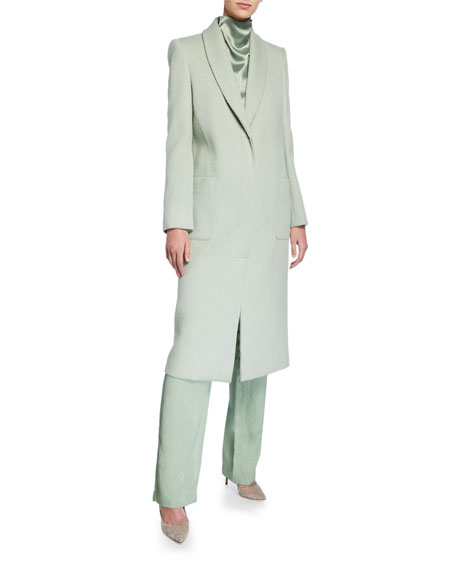 Sally LaPointe Snake-Print Wool Tailored Coat