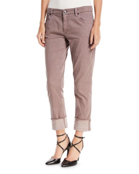 Brunello Cucinelli Straight-Leg Large-Cuff Jeans, Purple