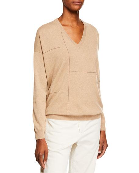 Brunello Cucinelli Cashmere Golden-Monili Grid Sweater