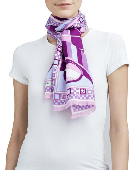 Itri Show Printed Silk Scarf, Fuchsia