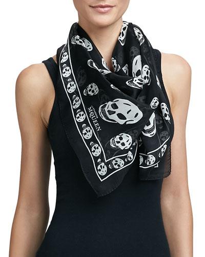 Skull-Print Silk Chiffon Scarf, Black/Ivory