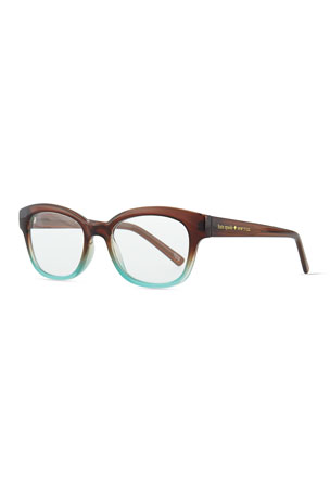 kate spade new york amilia rectangle readers, brown/blue