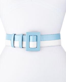 Two-Tone Leather Belt, Wedgwood/White