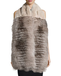 Rabbit & Fox Fur Stole w/Pockets, Earl Gray