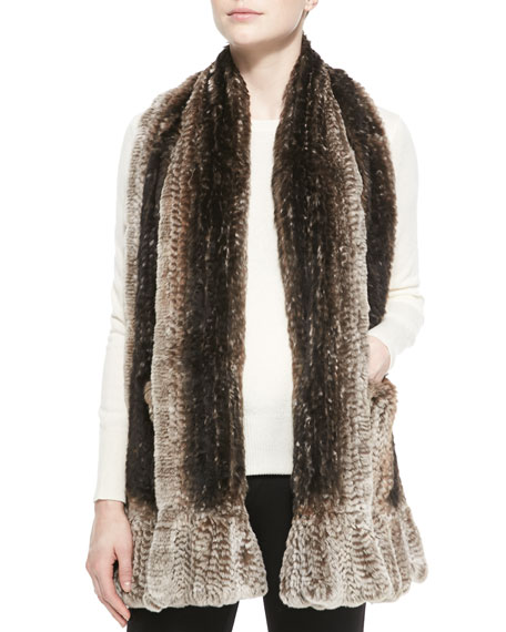 Belle Fare Knitted Rabbit Fur-Pocket Wrap
