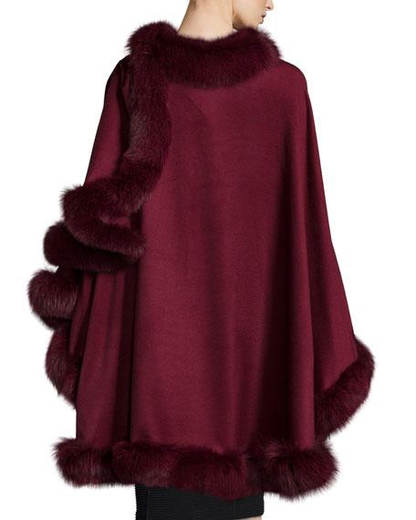 Sofia Cashmere Fox-Fur-Trim Cashmere Cape
