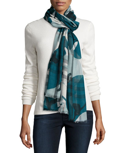 Painted Camo Check Gauze Scarf, Teal
