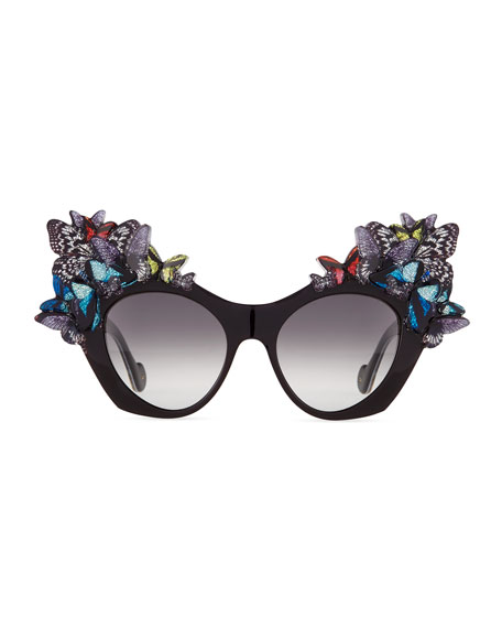 Image 3 of 4: 3D Glitter Butterfly Sunglasses