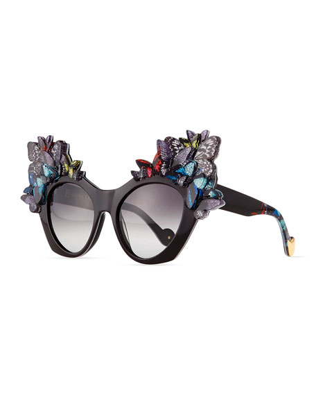 Image 1 of 4: 3D Glitter Butterfly Sunglasses