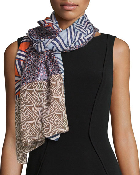 Ribbon Rectangles Silk Scarf