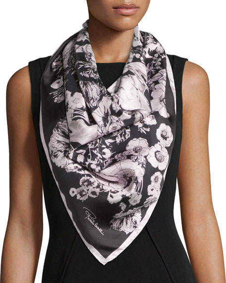 Roberto Cavalli Astro Garden Silk Twill Scarf, Black/Rose