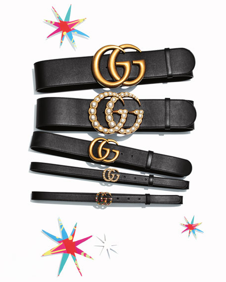 Image 2 of 2: Thin GG Leather Belt