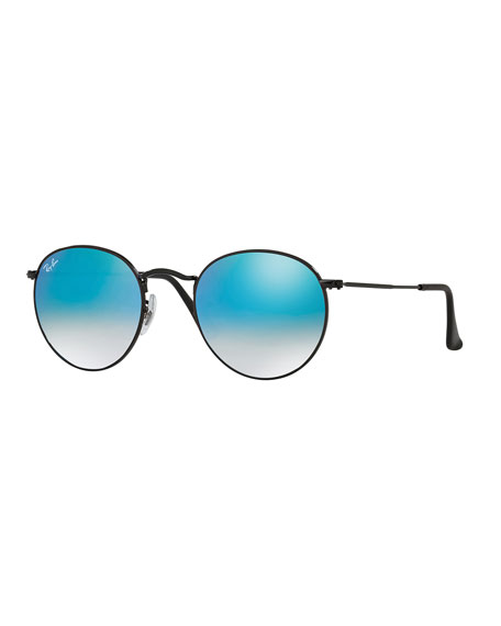 Ray-Ban Round Ombre-Mirrored Sunglasses, Black/Blue