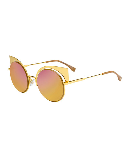 82f5191fb2 Fendi Runway Mirrored Cutout Sunglasses