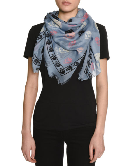 Voile Mixed-Skull Scarf