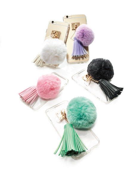 Transparent iPhone 6 Case w/ Fur Pompom, Light Pink