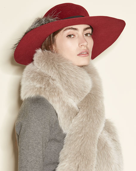 Felted Floppy Hat w/ Fox Fur
