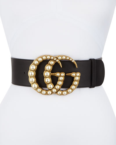 Wide Leather Belt w/ Pearlescent Beads  Black/Cream