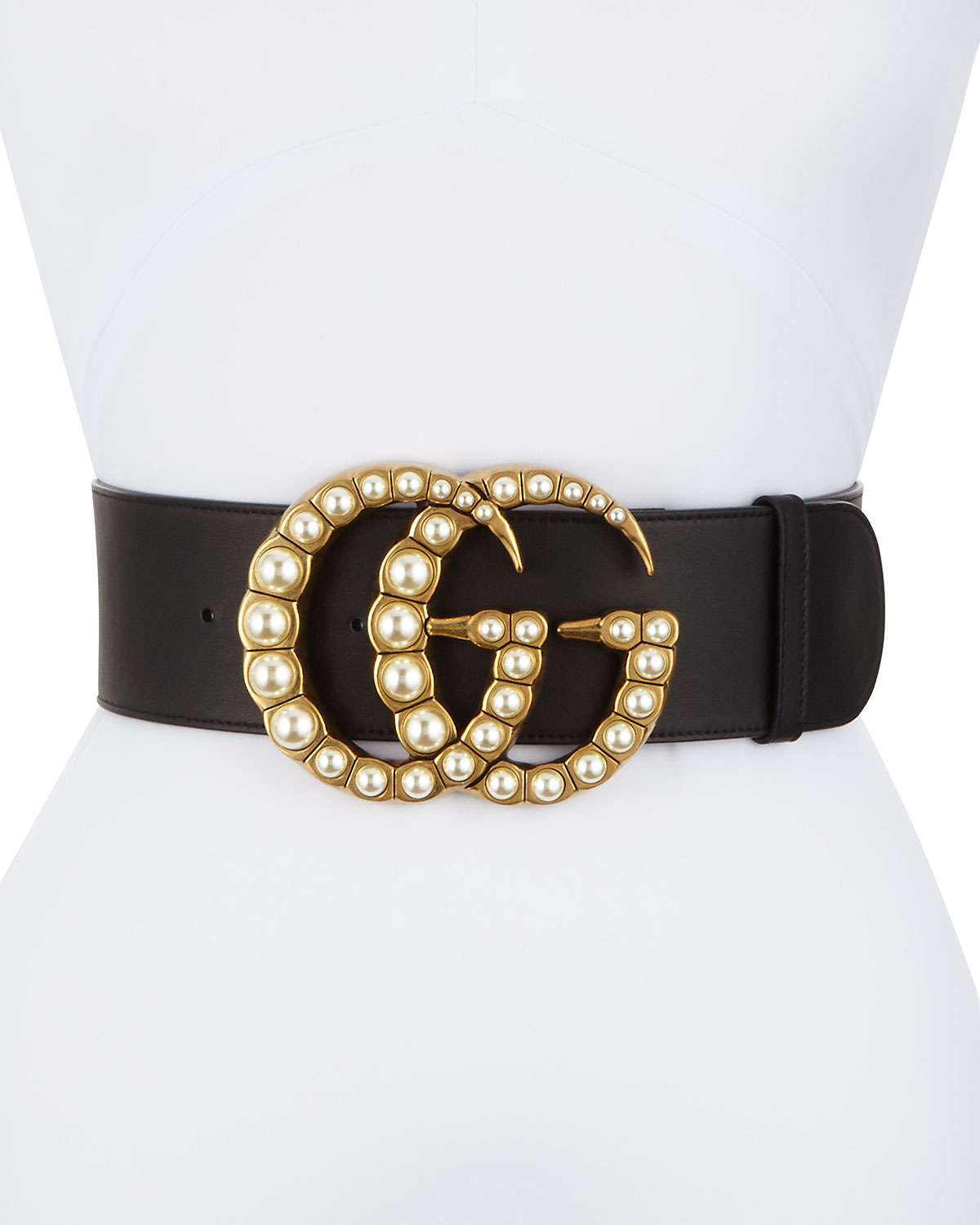 29b59bbcfb1 Gucci Wide Leather Belt w  Pearlescent Beads