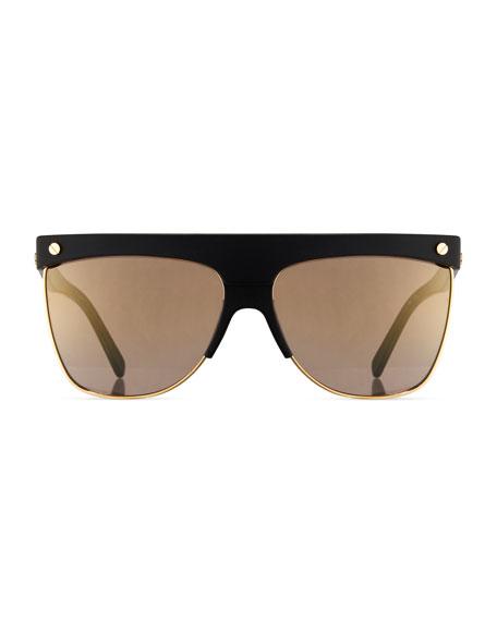 Gradient Oversized Flat-Top Sunglasses