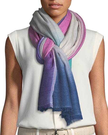 Loro Piana Summer Sunset Cashmere-Blend Stole, Light Gray