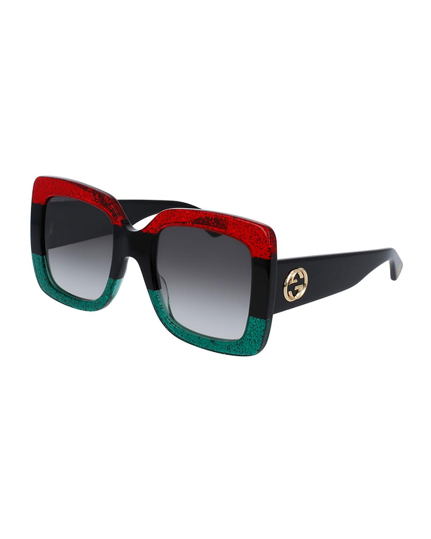 1f2a056f4e590 Gucci Glittered Gradient Oversized Square Sunglasses