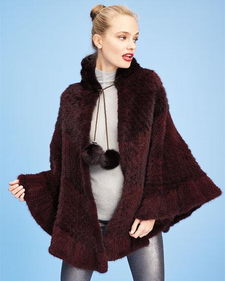 Colorblock Mink Fur Poncho