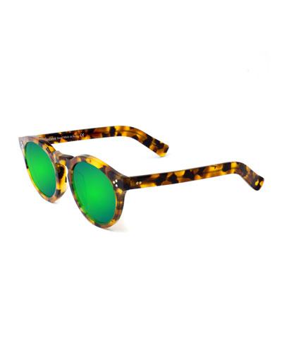 Leonard II Mirror Sunglasses  Tortoise/Green