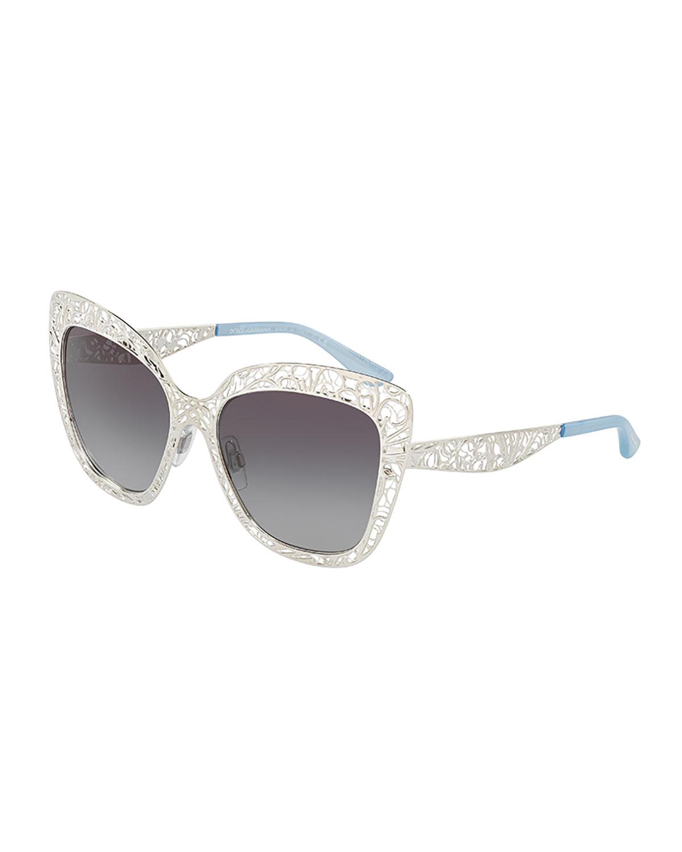 71b3ff728c0 Dolce   Gabbana Flowers Lace Square Metal Sunglasses