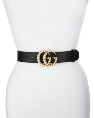 ed6c8fc0721 Gucci Smooth Leather Belt w  Pearlescent Beads