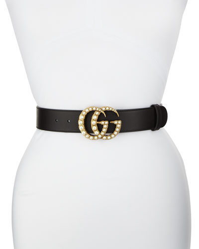 Smooth Leather Belt w/ Pearlescent Beads  Black