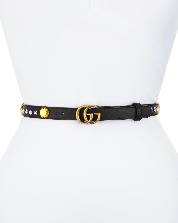 599fc4f0da9 Gucci Crystal Belt w  Double G Buckle