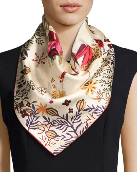 Image 1 of 2: Oslo Ladies Skiing Silk Scarf