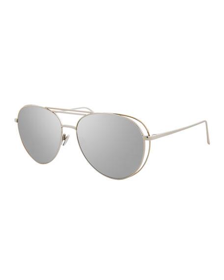 Linda Farrow Open-Inset Aviator Sunglasses, White Gold