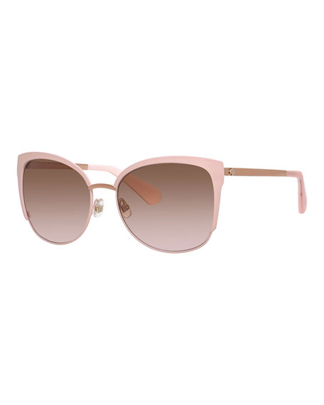 kate spade new york genice square oversize half-rim sunglasses