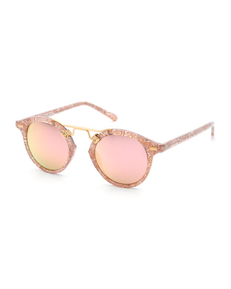 KREWE St. Louis Round Mirrored Sunglasses, Pink