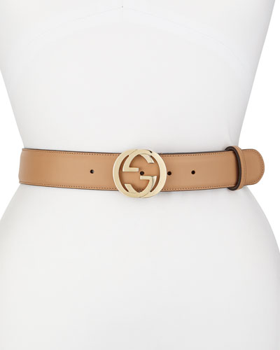 Wide Adjustable GG-Buckle Belt  Camelia